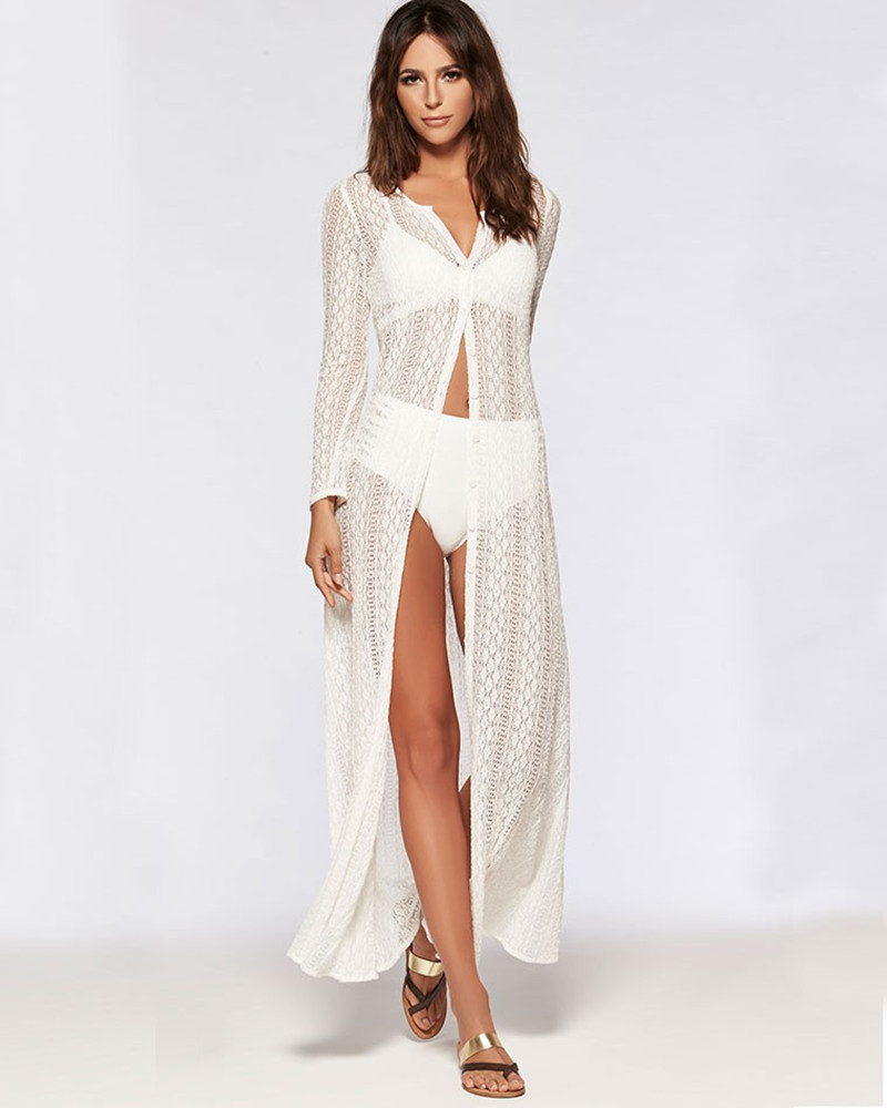 2017 Summer Women Boho Beach Lace Dress Crochet Long Cardigan Maxi ...