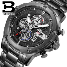 BINGER Fashion Accurate Quartz Wristwatch for Men Luxury Brand Famous Military Multifunctional Chronograph Business Watch B6009