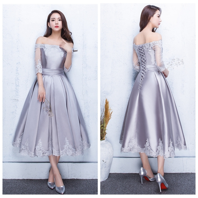 2005a6a7b4d Brautjungfernkleid new lace and satin Boat Neck 3 4 sleeve teal silver  bridesmaid dresses high quality African wedding party
