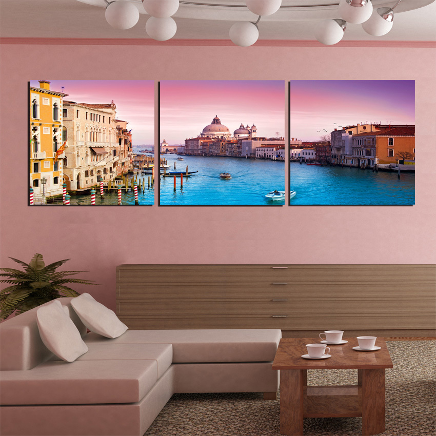 Modern Canvas Painting 3 Pieces Wall Art Italy Venice