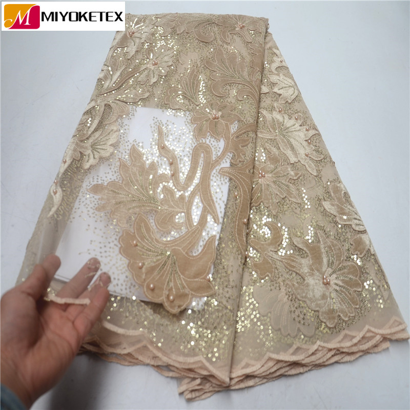 New Arrival Beautiful French Sequins Lace Fabric Velvet Lace With Beautiful Beads African Lace Fabric For