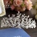 Projeto o mais atrasado! folha branca grande casamento De Cristal Tiara de noiva retro enfeites de cabelo acessórios de cabelo da coroa para a noiva