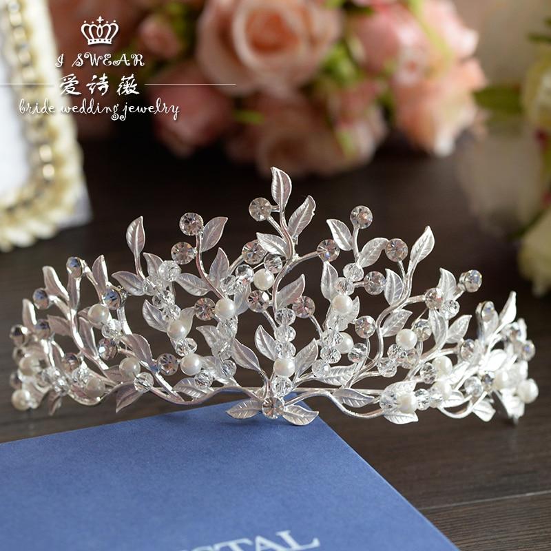 nejnovější design bílý list ručně vyráběné korálky koruna velká Crystal čelenka svatební nevěsta vlasy příslušenství pro nevěstu velkoobchod