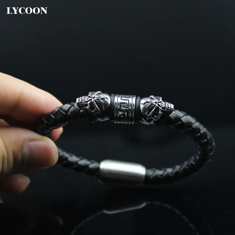 LYCOON braided genuine leather bracelets stainless steel magnet buckle and skull beads punk style leather bracelets for men