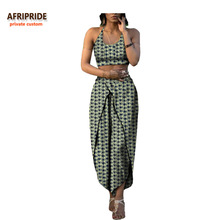 2017 african summer 2-pieces suit for women AFRIPRIDE sleeveless halter short top+ankle-length pant casual A722655