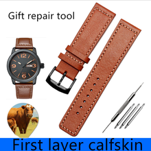 цена на Handmade 22MM Genuine Leather Watch Band For Citize Orange Light Kinetic Energy Male Watch for BM8475/26E 00F00X Series