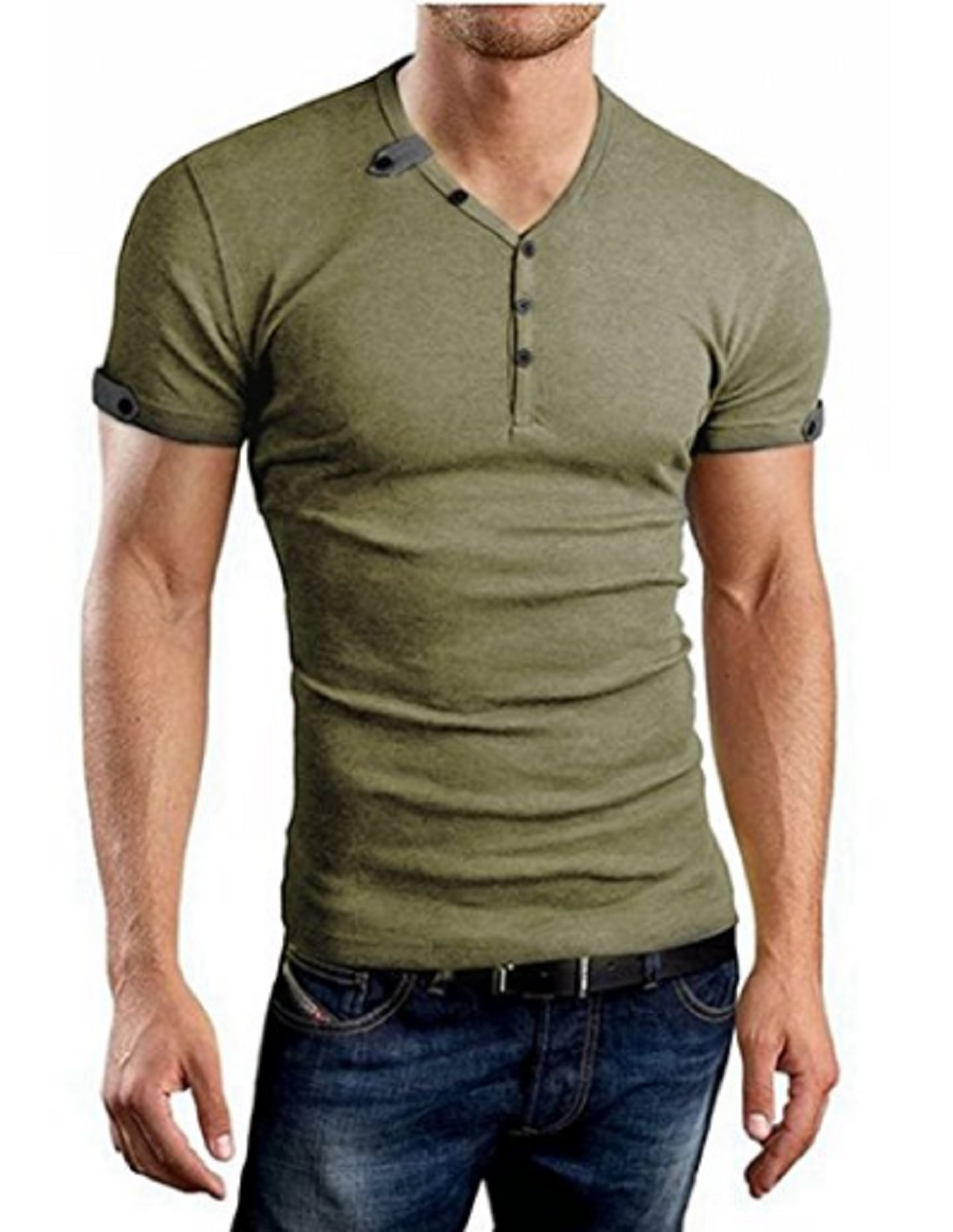 249a7e70 New 2018 Summer Men's Slim Fit V Neck Short Sleeve Muscle Tee T-shirt Casual