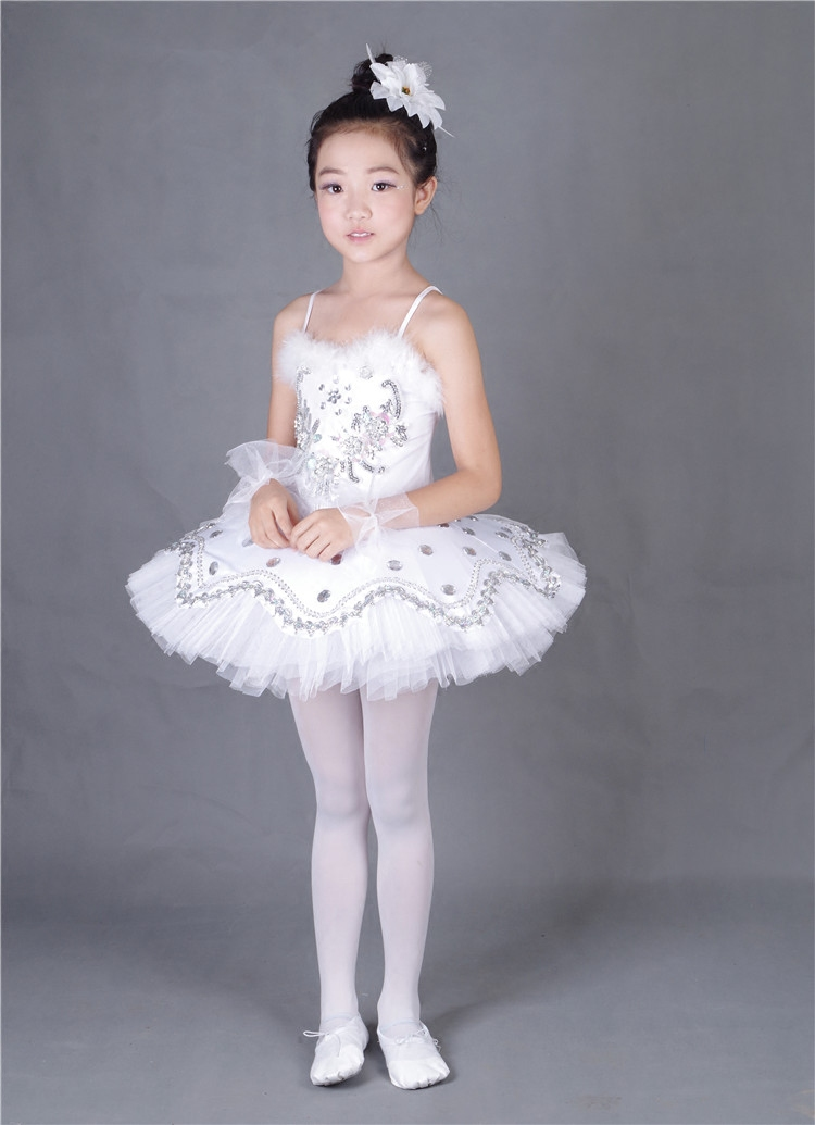 Girl Feather BallerinaTutu Costume Child Sequins White Swan Lake Tutu Dance Dress Ballet clothes for Kids