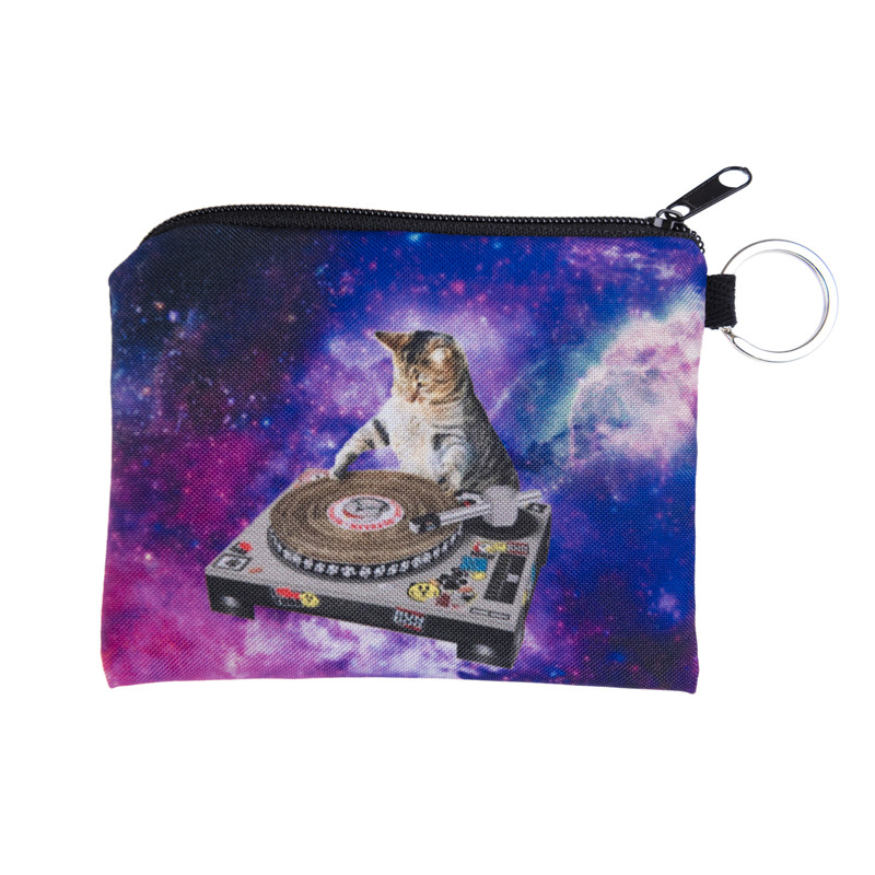 New Women Coin Purses Cute Girl Mini Bag Key Ring Case Zipper Wallet Lovely di cat galaxy  Pouch Change Purse wholesaleCP4018 fashion women coin purses dots design mini girl wallet triple zipper clutch bag card case small lady bags phone pouch purse new