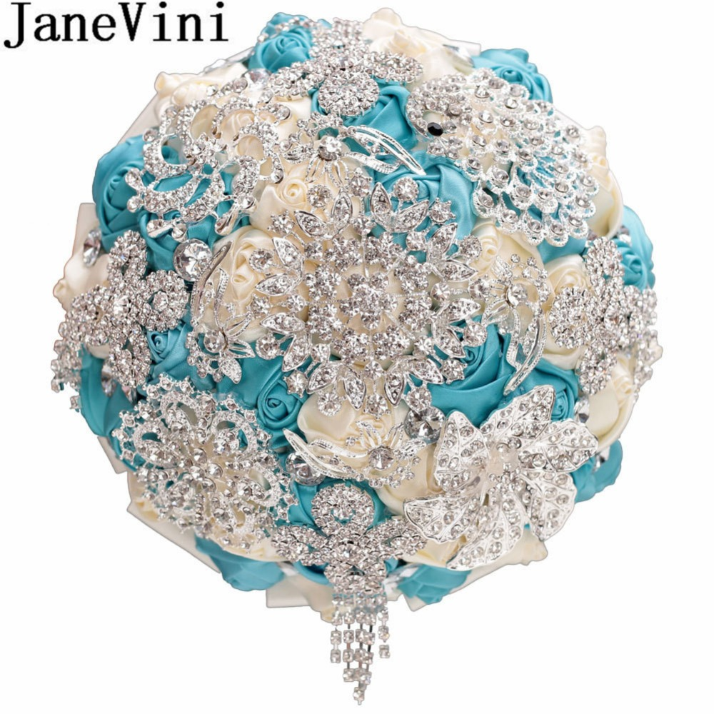 JaneVini Sparkly Rhinestones Blue Flower Wedding Bouquets Bridal Satin Rose Silver Crystal Bride Brooch Beaded Holding