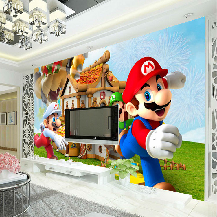 Buy super mario photo wallpaper for 3d dining room wall art