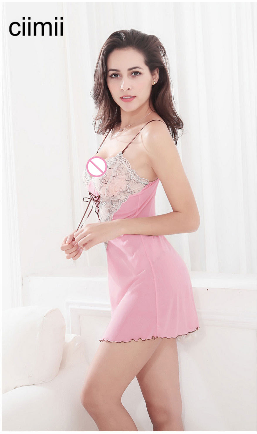 New Hot Sexy Sleepwear Night Dress Women Lace Cross Rope Decoration Nightgrown Strap Lingerie with Thong