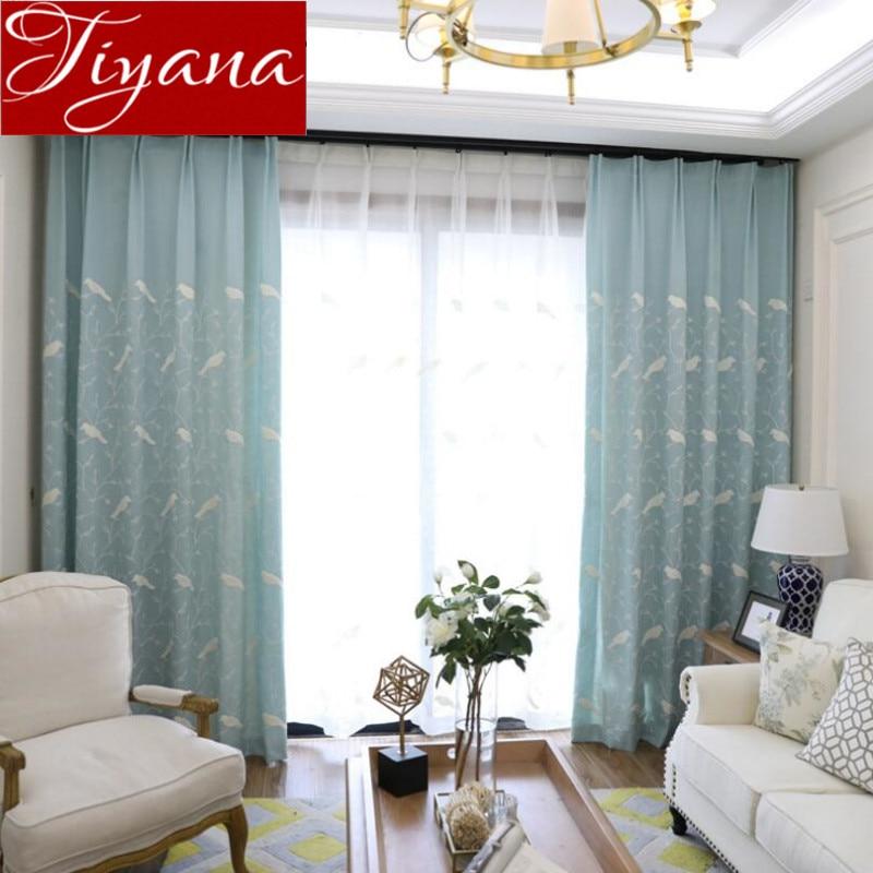 Rideaux Oiseaux ▻oiseaux rideaux brodé voile rideaux fenêtre moderne salon chambre
