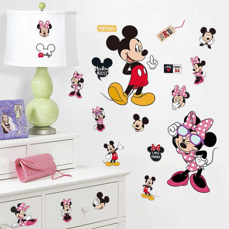 Cartoon Leuke Mickey Minnie Mouse Ballon Muurstickers Decals Of Kinderkamer Baby Slaapkamer Muur Art Park Poster Kwekerij Amusement
