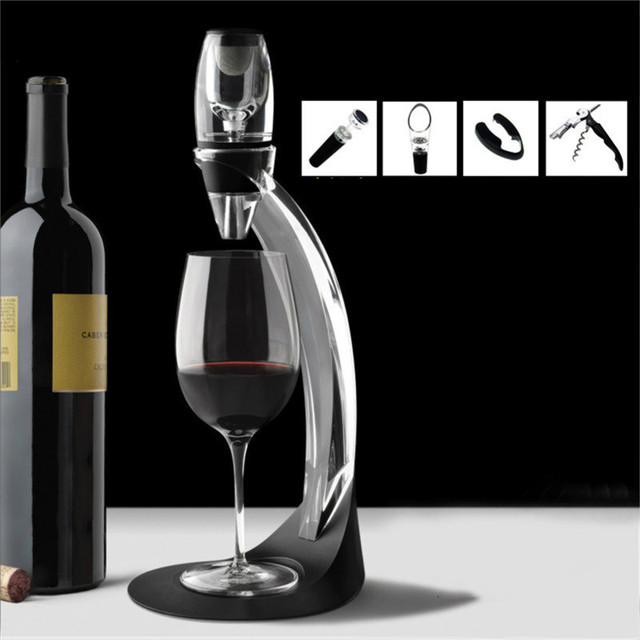1set Bar Tool Magic Wine Fast Decanter Dispenser Red Wine Aerator with Base and Filter Wine Accessories Gift