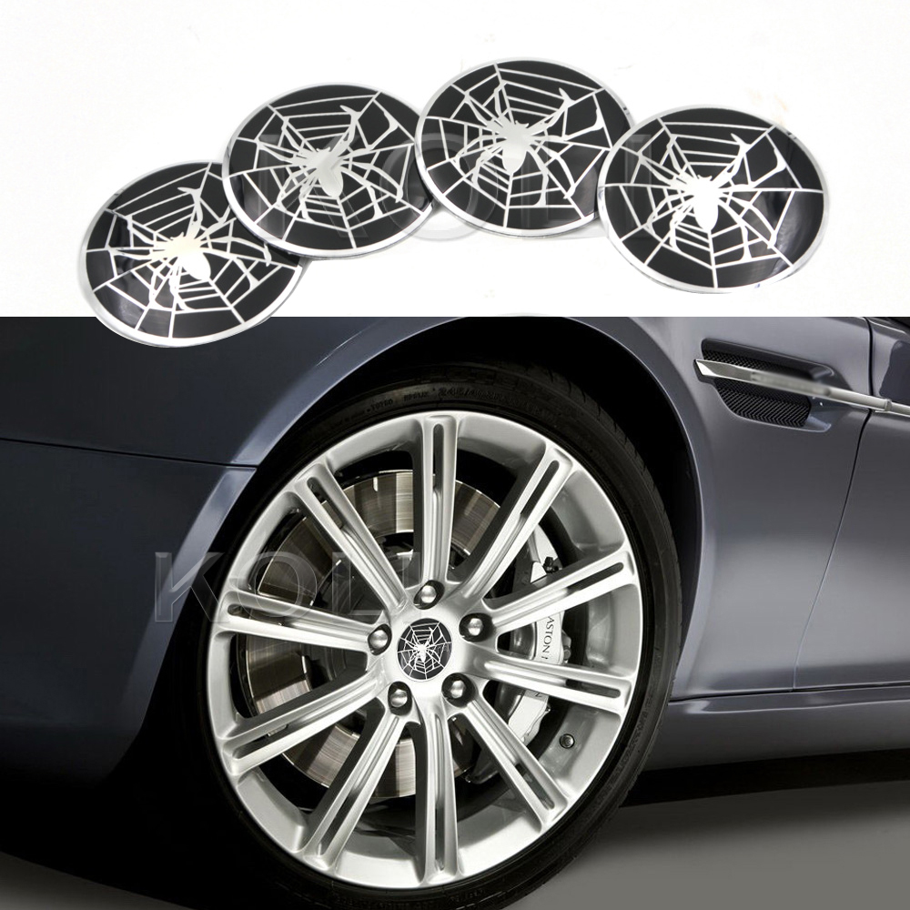 "4pcs 2.22"" White Black Spider Sticker Car Wheel Center Hub Cap Badge Emblem Decal Cover"
