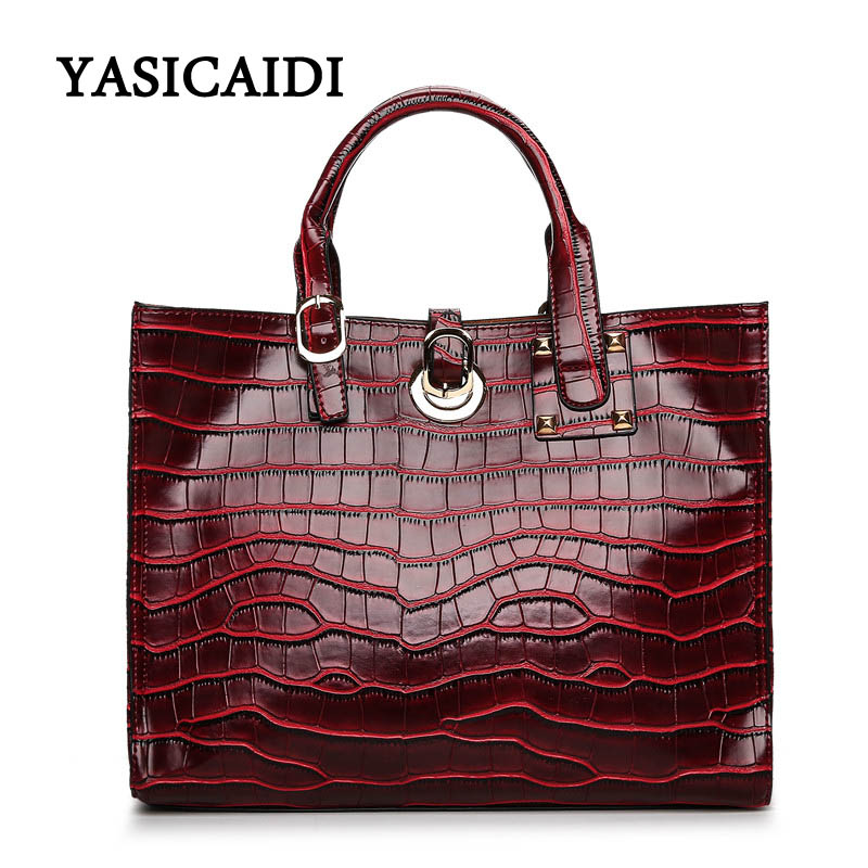 Women Shoulder Bag Casual Handbag Pu Leather Waterproof Alligator Designer Ladies Hand Bags Female Casual Tote Tote Bag rusoonnic women handbag set designer ladies composite bag pu leather shoulder bags alligator tote bolsos mujer mochila