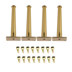 Image 1 - 4 Uds 80x200mm oro recto cono del Gabinete de muebles de armario metal piernas patas de la Mesa de carga 2000 Lbs equipamiento para mejorar el hogar