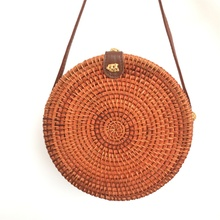 Round leather buckle womens shoulder bag bohemian color straw diagonal beach handmade rattan package ins with Bali hot sale