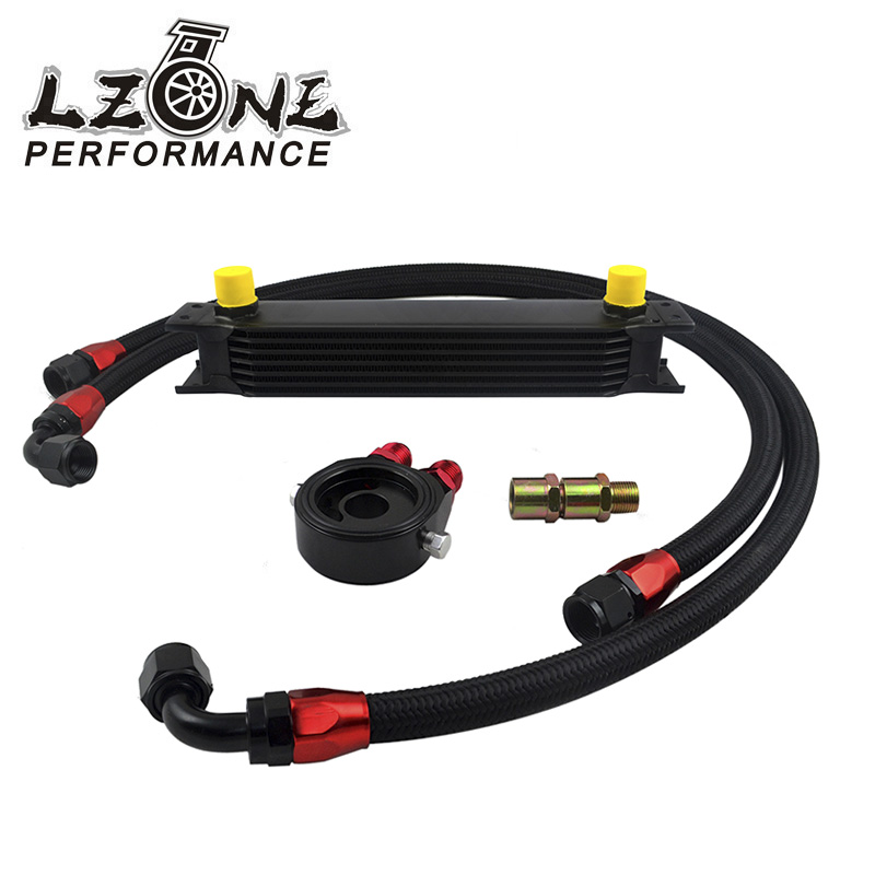 LZONE RACING - UNIVERSAL 10 ROWS OIL COOLER+OIL FILTER SANDWICH ADAPTER BLACK + SS NYLON STAINLESS STEEL BRAIDED AN10 HOSE