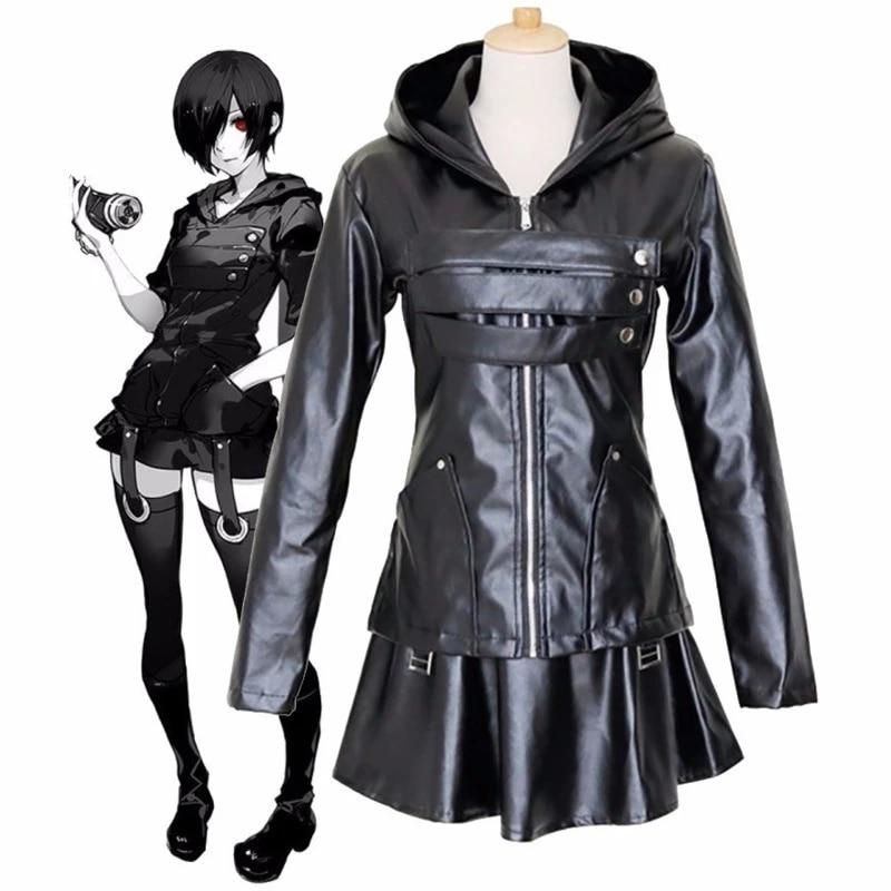 Tokyo Ghoul Kirishima Touka Cosplay Costume Halloween PU Leather Full Set