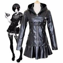 อะนิเมะTokyo Ghoul Touka Kirishimaคอสเพลย์เครื่องแต่งกายชุดเต็มชุดPUหนังสีดำชุดHoodieผู้หญิงฮาโลวีนต่อสู้ชุด