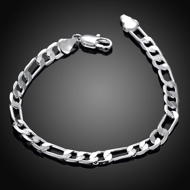Lostpiece Men S 925 Sterling Silver Bracelet Figaro Chain 6mm 8 Whole Fashion