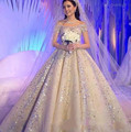 Beads Crystal Sequins 2017 Luxury Cap Sleeve Saudi Arabia Bridal Ball Bride Gowns Custom Bling Bling Weding Dresses 3302