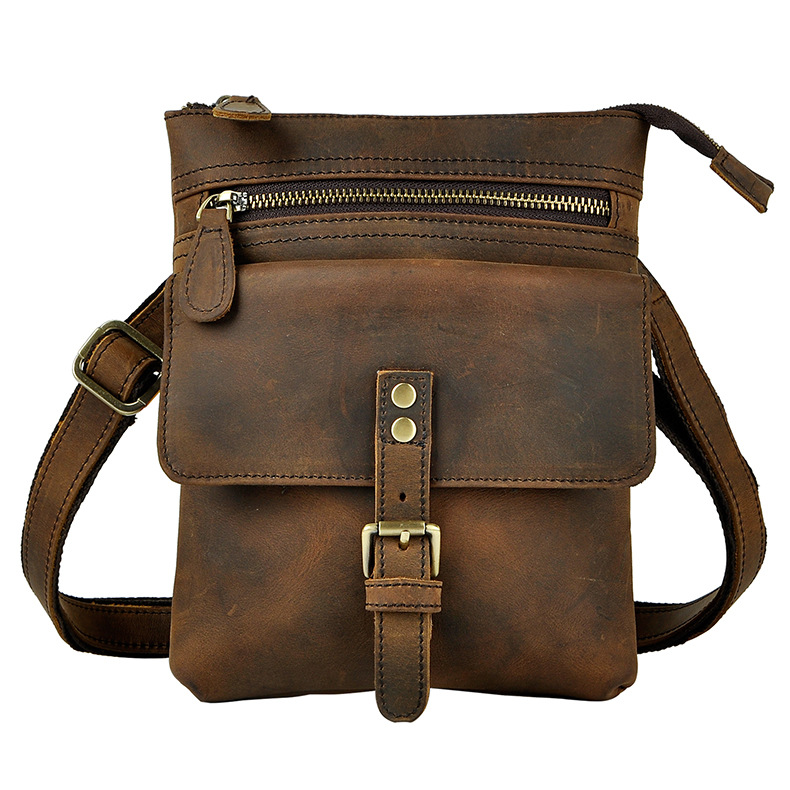 Men Fashion Leather Multifunction Casual Mochila Crossbody Bag Travel Case Phone Pouch Hook Belt Waist Pack Bag 6574-d