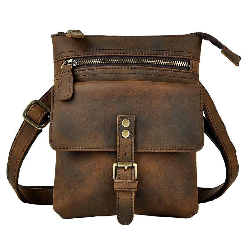 Men Fashion Leather Multifunction Casual Mochila Crossbody Bag Travel Case Phone Pouch Hook Belt Waist Pack Bag 6574-d