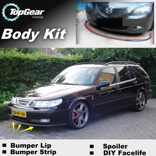 Bumper Lip Deflector Lips For Saab 9-5 95 Front Spoiler Skirt For TopGear Friends Car Tuning View / Body Kit / Strip