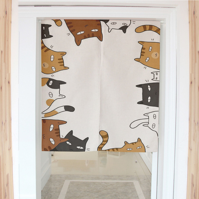 Cat Meow Anese Decorative Door Curtains Fabric Cloth Cotton Home Screens Parion Bathroom Kitchen