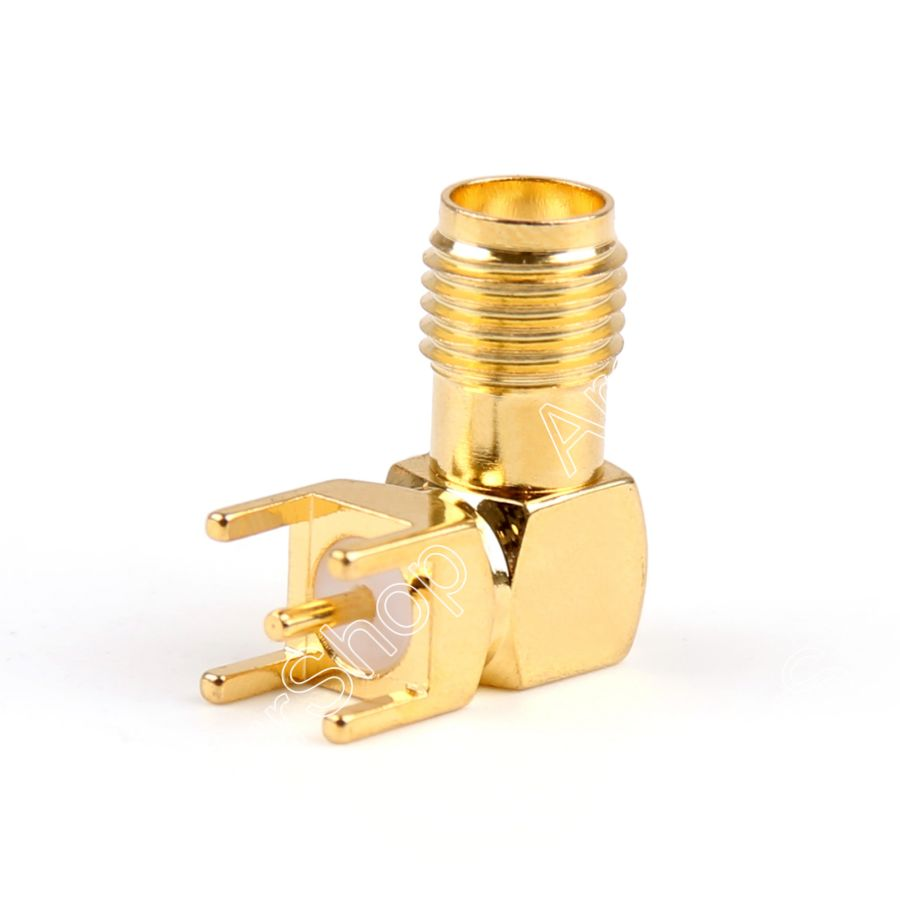 SMA Female Connector Gold-Plated Solder PCB Mount RF Connector 14.5mm Straight Right Angle 50Ohm 100PCS New Wholesale Adaptor new gold plated 3 5mm stereo socket jack right angle plug audio connector panel pcb smd 5pin