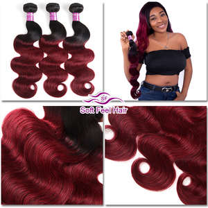 Image 3 - Soft Feel Hair 1/3/4Pcs Ombre Brazilian Body Wave Bundles 1B/Burgundy Ombre Hair Bundles Weave 99J Red Remy Human Hair Extension