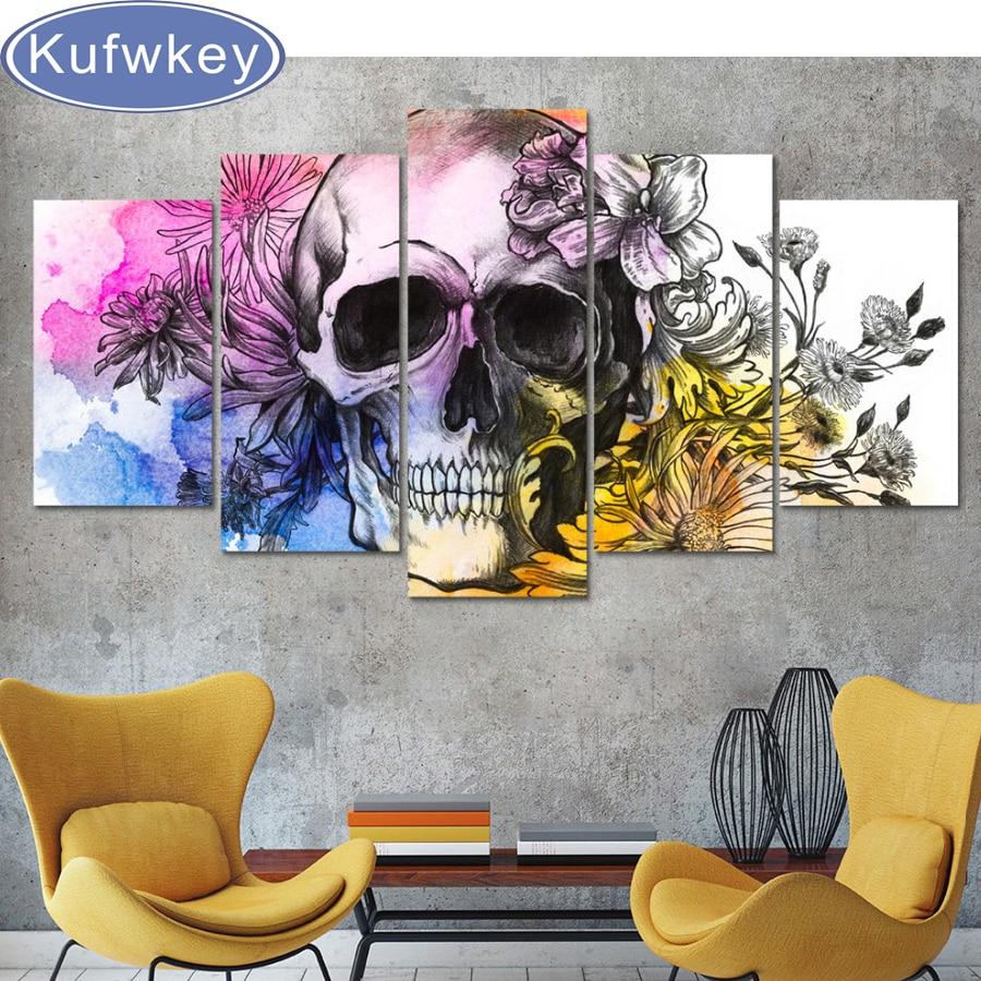 kufwkey 3D Diy teljes tér gyémánt hímzés koponya pillangó - Művészet, kézművesség és varrás