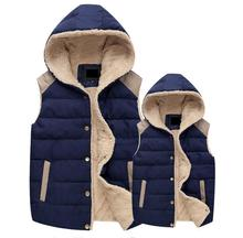 1piece2017 man and Women s Autumn and Winter Hooded Thick Warm Down Cotton Waistcoat Cotton Vest