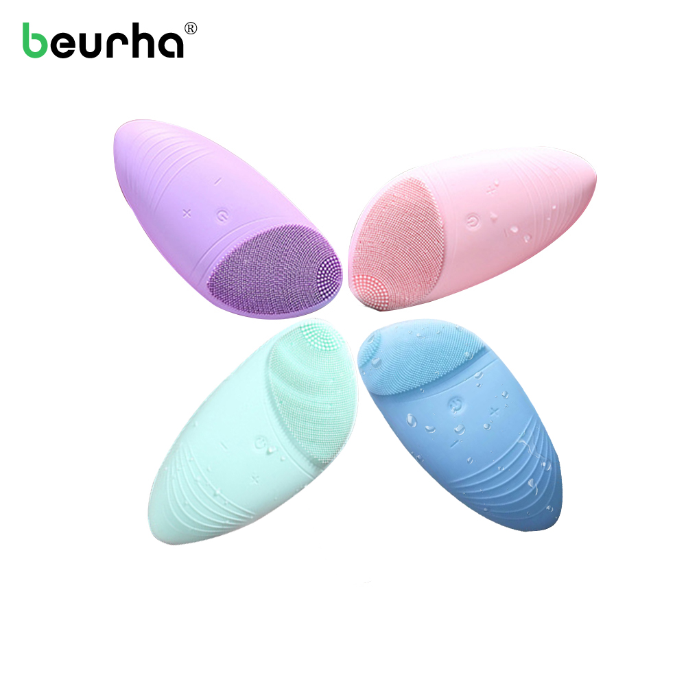Silicone Ultrasonic Sonic Vibration Facial Cleansing Brush Usb Electric Face Deep Pore Cleanser