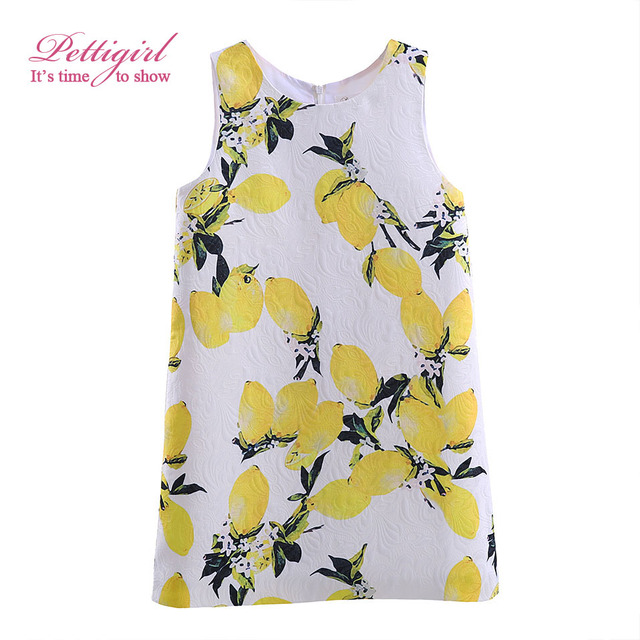 Girls Dresses Pettigirl 2017 New Arrivals Girl Tank Dress Lemon Pattern costume for kids Summer Children Clothes GD90124-522F