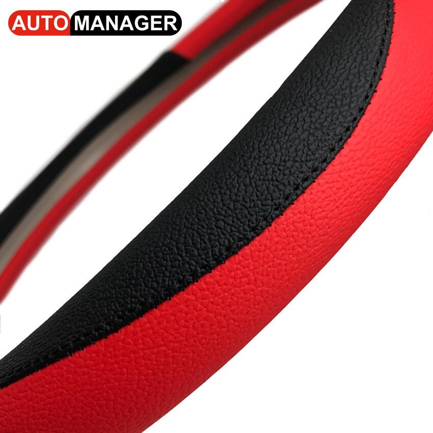 Autostuurwielafdekking 15 inch Pu lederen autohoezen op het stuur - Auto-interieur accessoires - Foto 1