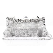 High quality luxury diamond shining women's clutch evening bag party wedding chain mine purse free shipping 3 colors 853