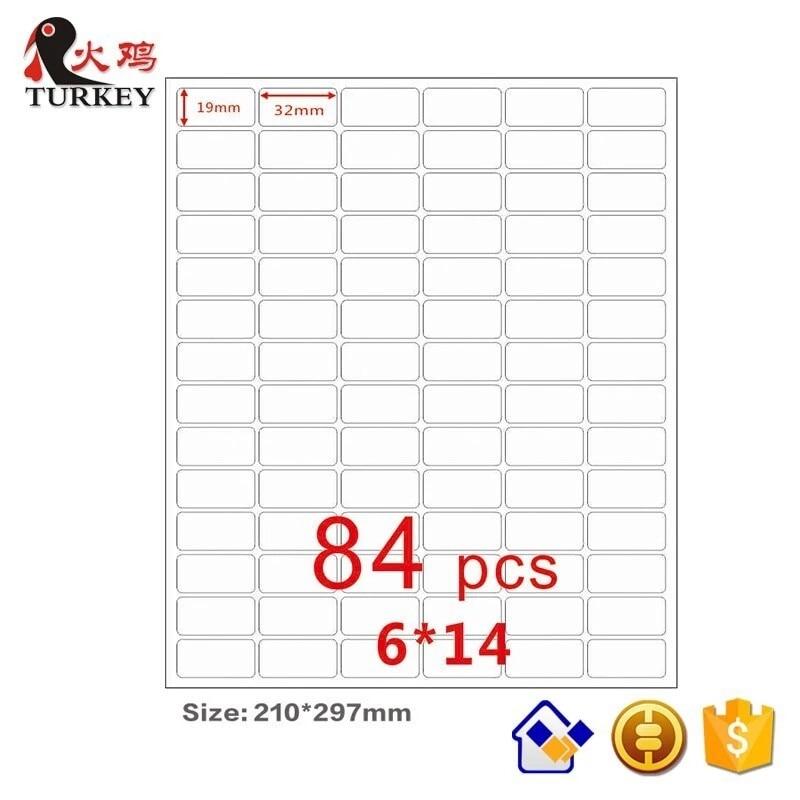 GL 44 50 Sheets White Label Sticker 84pcs/A4 Size Sticker