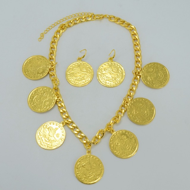 Turks Big Coin Jewelry Set Necklace Earrings Turkish Liras Yellow