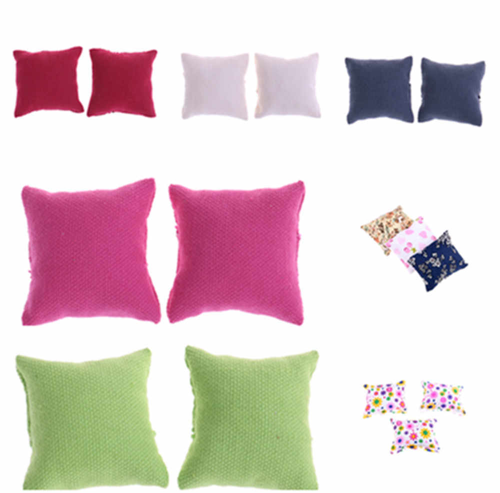 1/2/3Pcs Pillow Cushions For Sofa Couch Bed 1/12 Dollhouse Miniature Furniture Toys Without Sofa Chair Baby Christmas Gifts Shoe