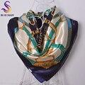Azul de las señoras Blanca Cuadrada Bufandas Abrigos de la Ropa Accesorios Bufanda de Seda Femenina Del Otoño Del Resorte 90 cm Cadena Marca Pañuelo De Satén