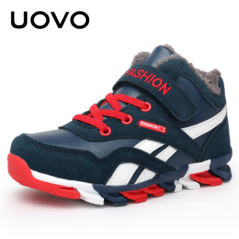 UOVO 2018 Boys Winter Shoes Fashion Sneakers for Boys Warm Plush Kids Boots Children Comfortable Non-Slip Shoes Size 31#-39#
