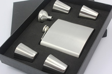 Matt black 6oz hip flask gift set with 4 cups and one funnel in black gift box