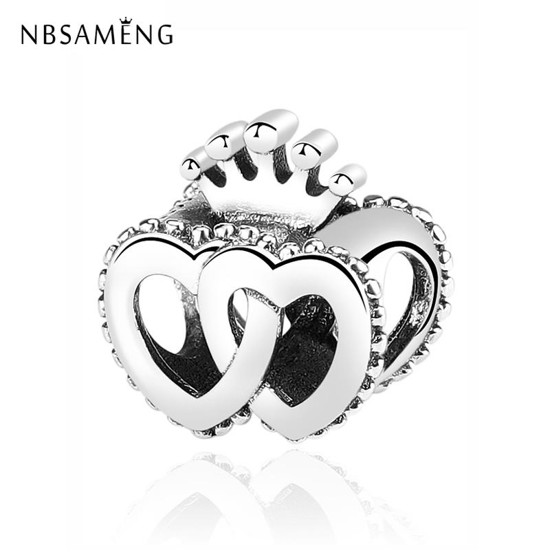 Original 100?5 Sterling Silver Bead Charm Interlocked Crown Hearts Charms Fit Bracelets Women Diy Jewelry Making|Beads| - AliExpress