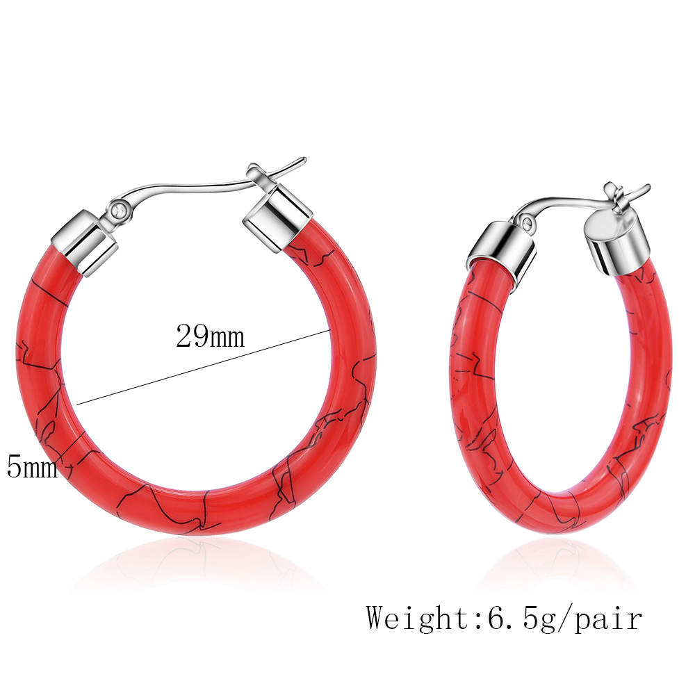 HTB1pD8KUXzqK1RjSZFvq6AB7VXaL - White/Black/Red/Blue Bohemian Stainless Steel Big Round Circle Hoop Earrings For Women Exaggerated Charms Resin Printing Earring