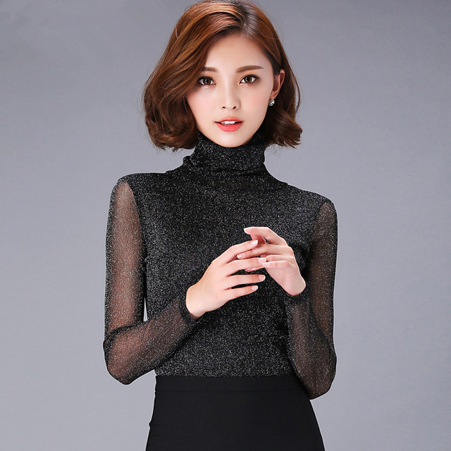 Spring Women's Fashion Turtleneck Shirt Lace Long-sleeve Basic Shirt