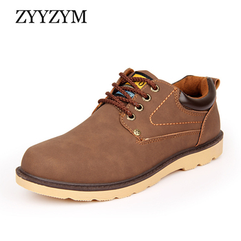 ZYYZYM homme chaussures décontractées printemps automne à lacets Style Pu cuir plat mode tendance bout rond hommes travail chaussure 2018 offre spéciale